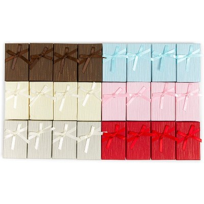 24 Pack 6 Colors Jewelry Gift Boxes with Lids and Ribbon Bows for Display Rings, Earrings, Necklaces and Bracelets