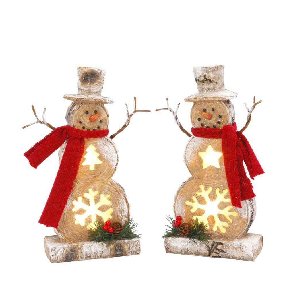"Image of ""10""""/2ct Resin Snowman Decorative Figurines - Gerson International, White"""
