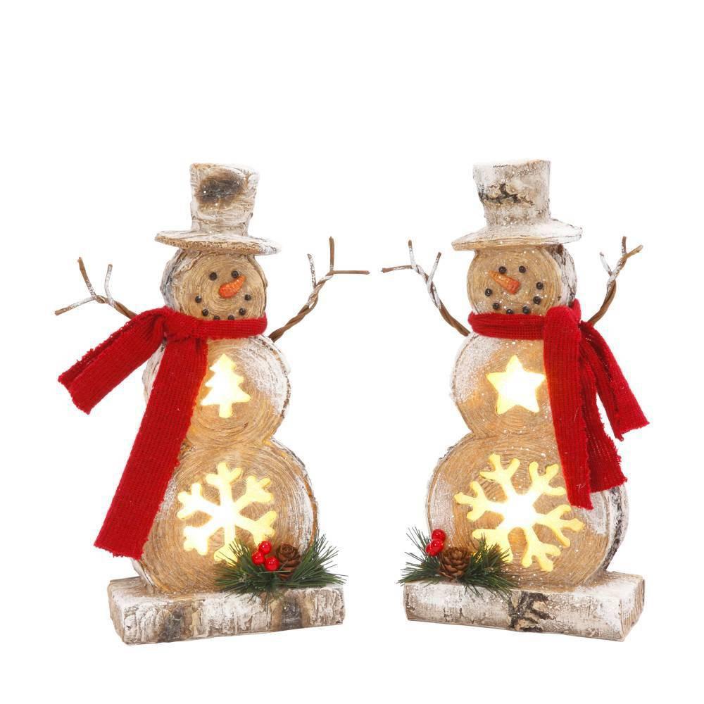 "Image of ""10""""/2ct Resin Snowman Decorative Figurines - Gerson International, White"""