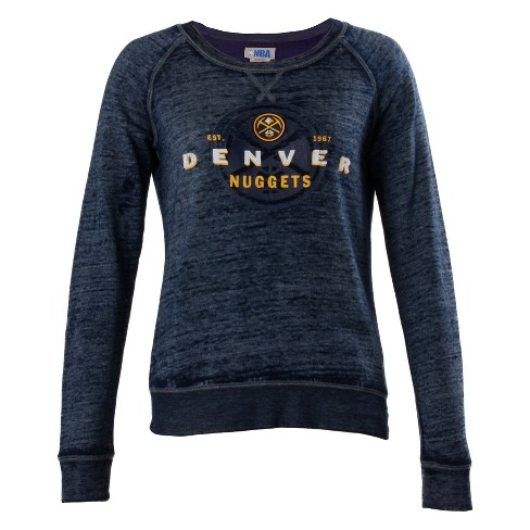 NBA Denver Nuggets Women's Retro Logo Burnout Crew Neck Sweatshirt - image 1 of 2