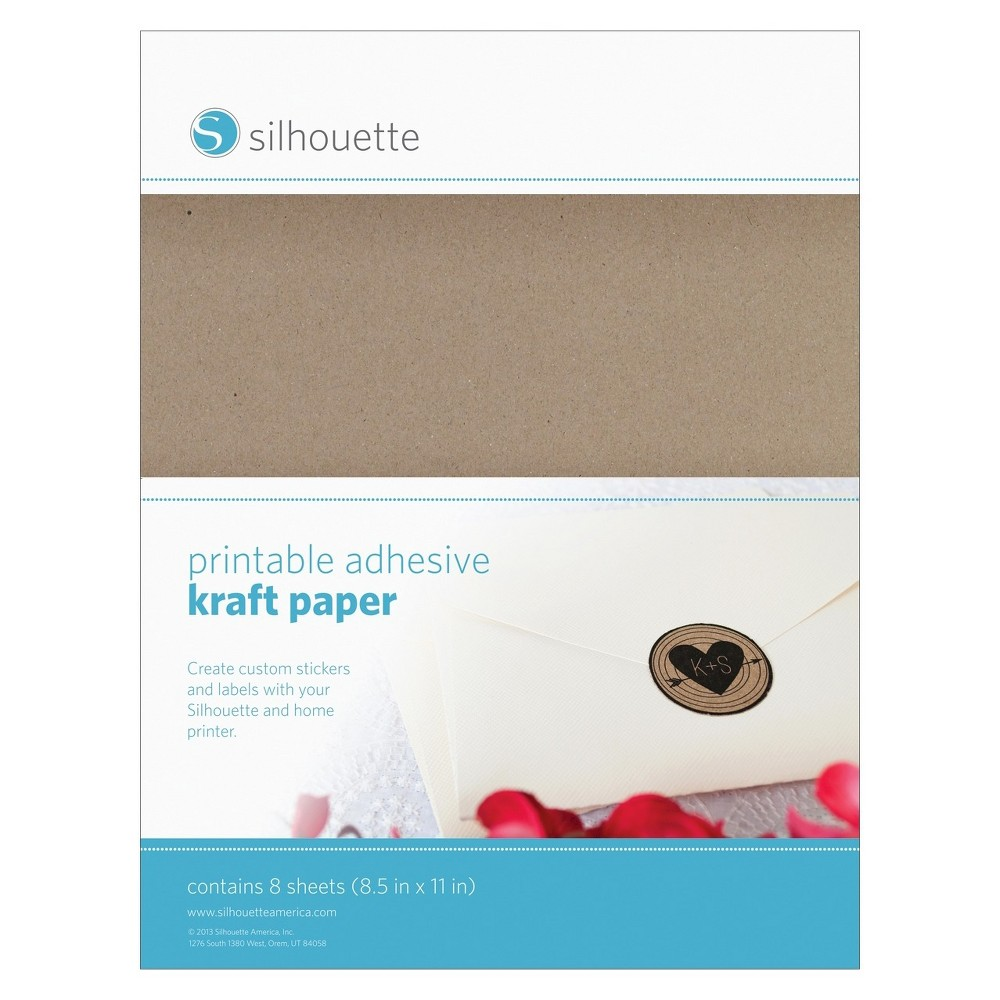 Silhouette Printable Sticker Paper-Kraft, Multi-Colored Silhouette OF America-Printable Kraft Sticker Paper. Print text and designs on these sheets of sticker paper and use your Silhouette (not included) to cut them out. This package contains eight 8-1/2x11 inch adhesive sheets. Imported. Color: Multi-Colored.