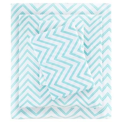 Full Cotton Blend Jersey Knit All Season Sheet Set Blue Chevron