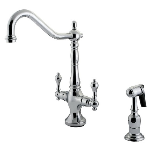 Heritage Chrome Kitchen Faucet with Solid Brass Side Sprayer - Kingston Brass, Grey