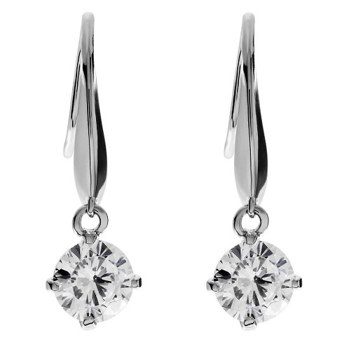 1 CT. T.W. Round-cut CZ Dangle Basket Set Earrings in Base Metal - Silver - image 1 of 2