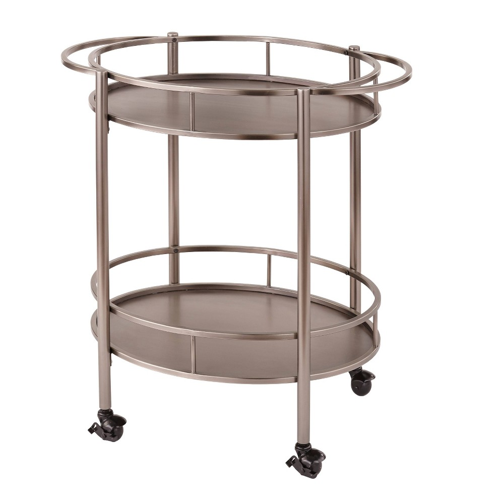 Devin Oval Metal Bar Cart Pewter - Lifestorey was $259.99 now $168.99 (35.0% off)