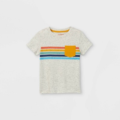 Toddler Boys' Rainbow Striped Pocket Short Sleeve T-Shirt - Cat & Jack™