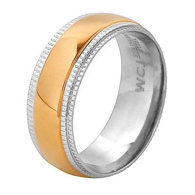 Men's West Coast Jewelry Goldplated Stainless Steel Ridged Edge Band Ring