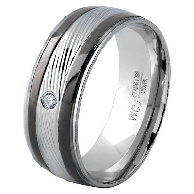 Men's West Coast Jewelry Blacktone and Silver Plated Stainless Steel Cubic Zirconia Grooved Ring