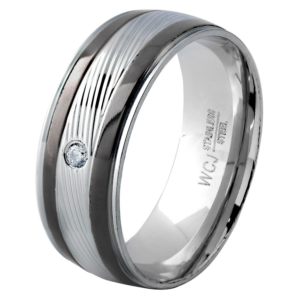 Men's West Coast Jewelry Blacktone and Silverplated Stainless Steel Cubic Zirconia Grooved Ring (13), Black