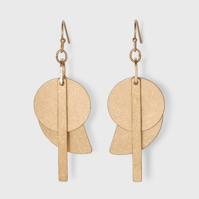 Worn Gold Brass Drop Earrings - Universal Thread™ Gold
