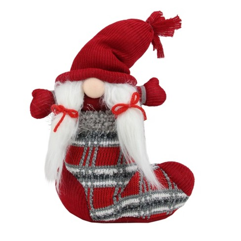 """Northlight 10"""" Red and Gray Isolde Gnome Christmas Stocking Tabletop Figurine - image 1 of 2"""