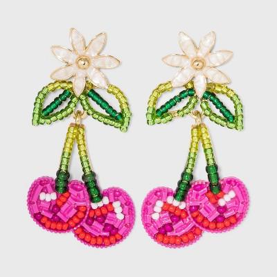 SUGARFIX by BaubleBar Beaded Cherry Drop Earrings - Pink