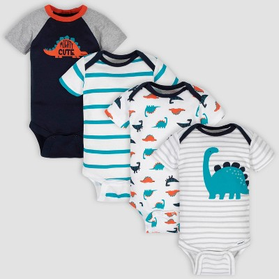 Gerber Baby Boys' 4pk Dino Onesies - White/Navy 3-6M