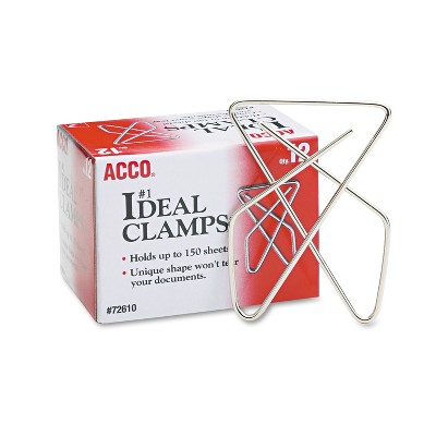 """ACCO Ideal Clamps Metal Wire Large 2 5/8"""" Silver 12/Box 72610"""