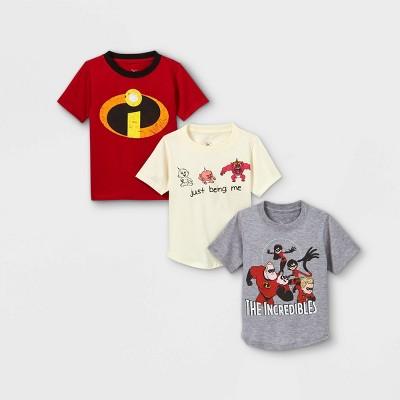 Toddler Boys' 3pk Disney 'The Incredibles' Short Sleeve Graphic T-Shirt