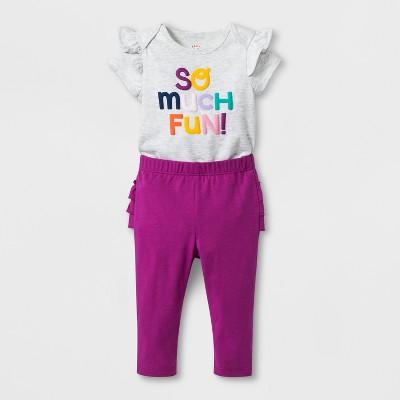 Baby Girls' 2pc Bodysuit and Leggings Set - Cat & Jack™ Purple 0-3M