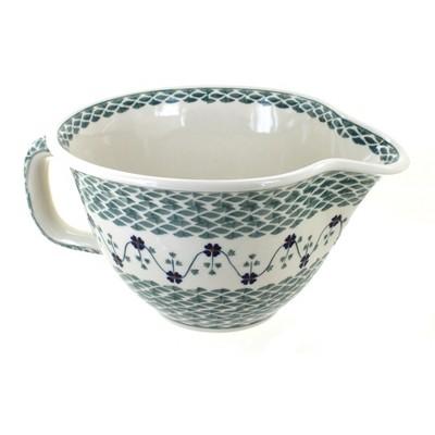 Blue Rose Polish Pottery Sage Floral Batter Bowl