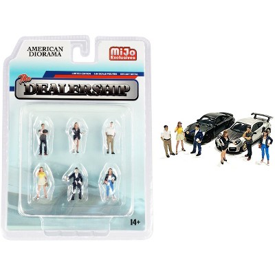 """""""The Dealership"""" 6 piece Diecast Figurine Set for 1/64 Scale Models by American Diorama"""