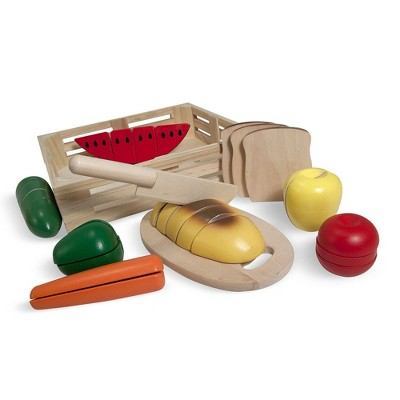 Melissa & Doug Cutting Food - Play Food Set With 25+ Hand-Painted Woodenpc, Knife, and Cutting Board