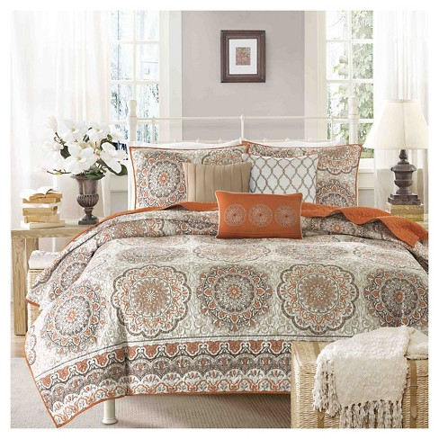 69483a36b49 Menara 6 Piece Quilted Coverlet Set- Orange (Full Queen )   Target