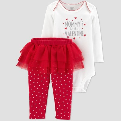 Baby Girls' Mommy's Little Valentine 2pc Tutu Set - Just One You® made by carter's Cream 3M