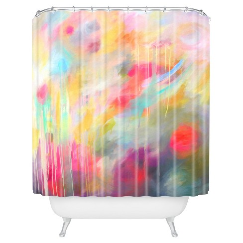 Floral Stripe Shower Curtain Red