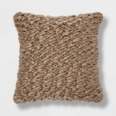 Chunky Weave Square Throw Pillow Brown - Project 62™