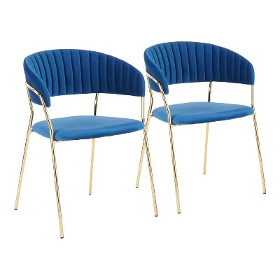 Set of 2 Tania Contemporary/Glam Chair Blue - LumiSource