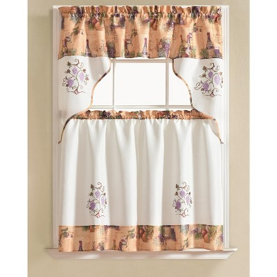 Ramallah Trading Urban Embroidered Grape Tier and Valance - 60 x 36, Beige