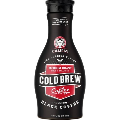 Califia Farms Pure Black Unsweetened Medium Roast Cold Brew Coffee - 48 fl oz