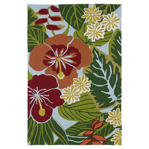 Kaleen Rugs Matira Hibiscus Indoor/Outdoor Area Rug Blue 2'x3' - image 1 of 3