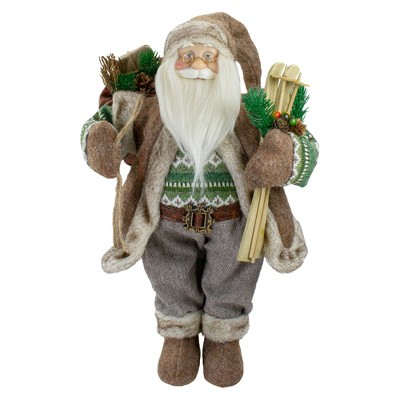 """Northlight 18"""" Standing Santa Christmas Figure Carrying Presents and Skis"""