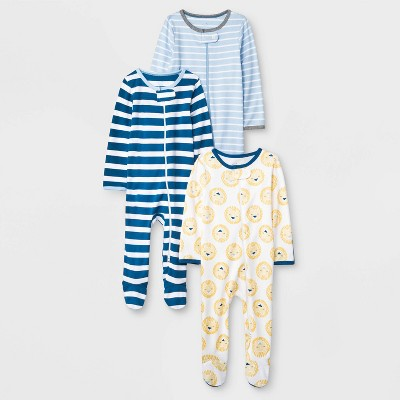 Baby Boys' King of the Crib 3pk Footed Sleeper - Cloud Island™ 3-6M