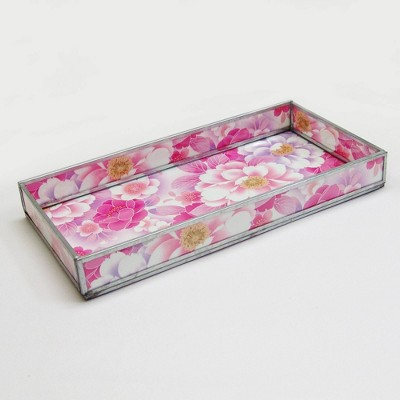Floral Print Decorative Glass Tray Pink - Nu Steel