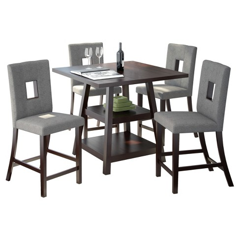 Bistro 5 Piece Counter Height Cappuccino Dining Set - Pewter Gray - CorLiving - image 1 of 4