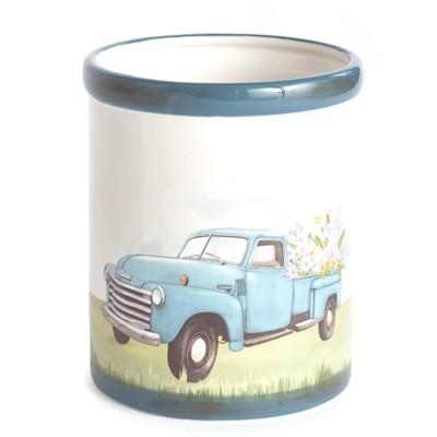 Lakeside Vintage Truck Utensil Crock with Spring Flowers - Knife, Silverware Holder