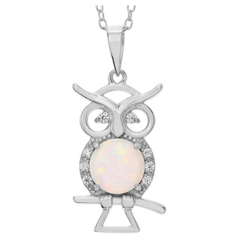 "2/5 CT. T.W. Round-cut Opal CZ Prong Set Owl Pendant Necklace in Sterling Silver - Silver (18"") - image 1 of 2"