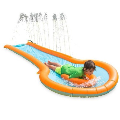 HearthSong 12'L Inflatable Water Slide with 3'W Splash Pool and Two Inflatable Speed Boards