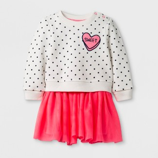 Baby Girls' Long Sleeve Sweet Fleece Pullover and Tulle Tutu Set - Cat & Jack™ Coral Newborn