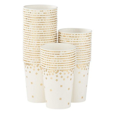 Juvale 50-Pack White Gold Confetti 9 oz Disposable Paper Party Cups Wedding Party Supplies