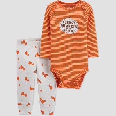 Baby 'Cutest Pumpkin' Top and Bottom Set - Just One You® made by carter's Orange/Gray 3M