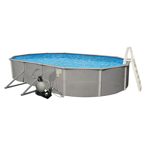 "Belize 18'x33' Oval 52"" Deep 6"" Top Rail Metal Wall Swimming Pool Package - image 1 of 4"