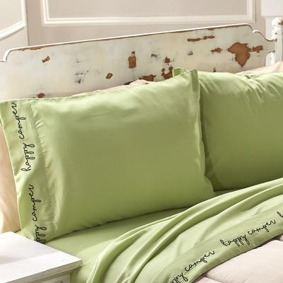 Lakeside Happy Camper Embroidered Bed Sheet Set with Pillowcases