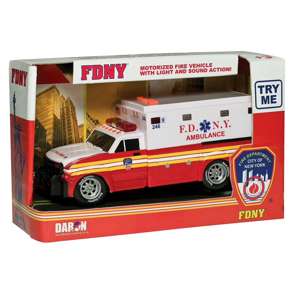 Daron Fire Department City of New York Motorized Ambulance (FDNY) Thrilling and exhilarating this motorizedAmbulance will lend a new meaning to the word lifelike. FDNY motorized Ambulance with lights and sound. This Ambulance is officially Licensed by the FDNY. Batteries Included. Ambulance is 11 inches long. Motorized with Light and Sound. Gender: unisex.