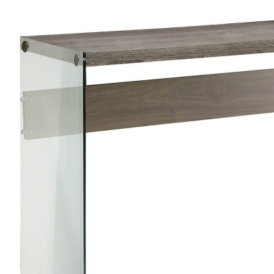 Monarch Specialties Contemporary Tempered Glass Accent Console Table, Dark Taupe