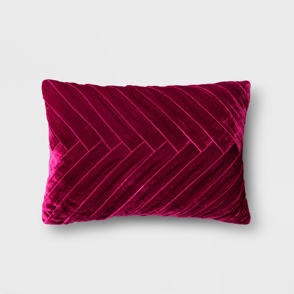 Merlot Pleated Velvet Lumbar Pillow - Opalhouse