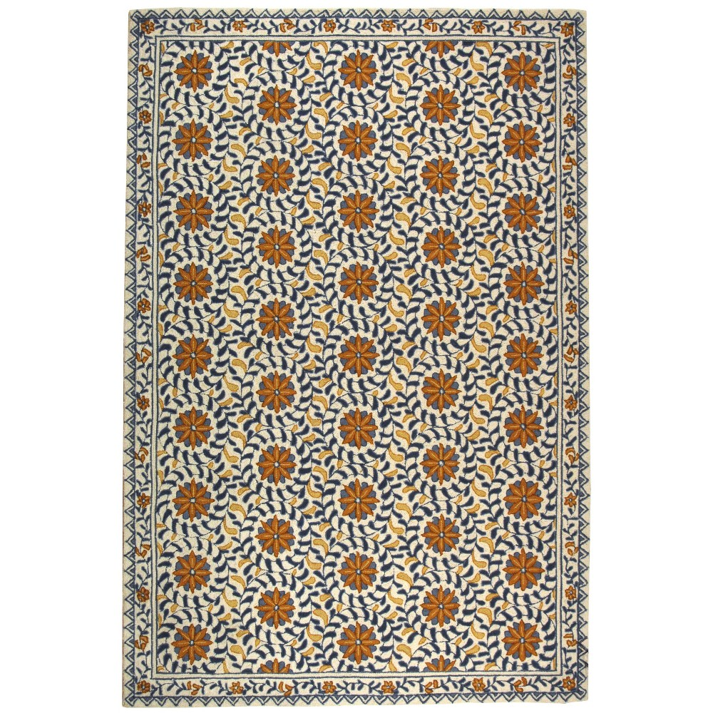 6'x9' Floral Hooked Area Rug Ivory/Blue - Safavieh, White Blue
