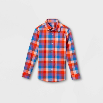 Boys' Woven Long Sleeve Button-Down Shirt - Cat & Jack™ Red/Blue