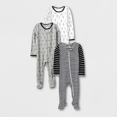 Baby 3pk Long Sleeve Footed Sleeper Set - Cloud Island™ Black/White/Gray Newborn