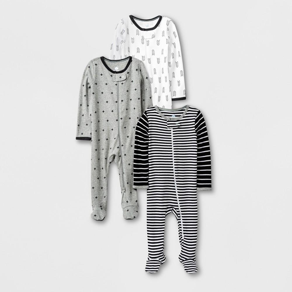 Baby 3pk Long Sleeve Pajama Set - Cloud Island Black/White/Gray 3-6M, Infant Unisex